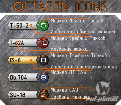 Octagon Icons WoT Mod 0.8.5